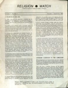 Download the first issue of RELIGION WATCH (1980)